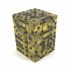 KOP12366 Gold Olympic Dice with Black Pips D6 12mm (1/2in) Set of 36
