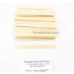 WONST001 Wooden Stir or Craft Sticks Pack of 50 Wondertrail