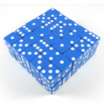 KOP05239 Blue Opaque Dice White Pips D6 25mm (1in) Bulk Pack of 50