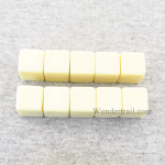 CHX29042 Ivory Blank Dice with No Pips D6 16mm (5/8in) Pack of 10