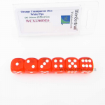 WCX23603E6 Orange Translucent Dice White Pips D6 16mm Pack of 6