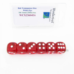 WCX23604E6 Red Translucent Dice White Pips D6 16mm Pack of 6