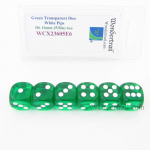 WCX23605E6 Green Translucent Dice White Pips D6 16mm Pack of 6