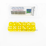 WCX23802E12 Yellow Translucent Dice White Pips D6 12mm Pack of 12