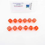 WCX23803E12 Orange Translucent Dice White Pips D6 12mm Pack of 12