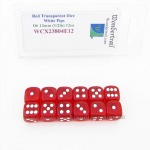 WCX23804E12 Red Translucent Dice White Pips D6 12mm Pack of 12
