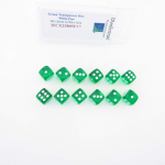 WCX23805E12 Green Translucent Dice White Pips D6 12mm Pack of 12