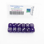 WCX23807E12 Purple Translucent Dice White Pips D6 12mm Pack of 12