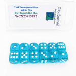 WCX23815E12 Teal Translucent Dice White Pips D6 12mm Pack of 12