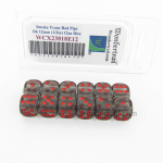WCX23818E12 Smoke Translucent Dice Red Pips D6 12mm Pack of 12