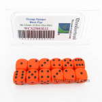 WCX25803E12 Orange Dice Black Pips D6 12mm (1/2in) Pack of 12