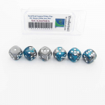 WCX26656E6 Steel and Teal Gemini Dice with White Pips D6 16mm (5/8in) Pack of 6