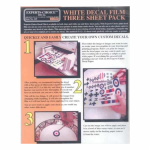 BMF125 White Laser Decal Film Three Sheet Pack Bare-Metal Foil
