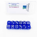 WCX23806E12 Blue Translucent Dice White Pips D6 12mm Pack of 12