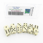 WCX25800E12 Ivory Dice with Black Pips D6 12mm (1/2in) Pack of 12