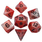 MET110 Red and White Resin Dice Black Numbers 16mm (5/8in) 7-Dice Set