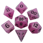 MET307 Purple Glow in the Dark Resin Dice Black Numbers 16mm 7-Dice Set