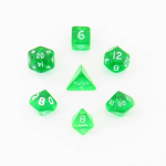 CHX23055 Green Transparent Mini Dice White Numbers 10mm Set of 7