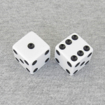 KOP17818 White Opaque Dice with Black Pips D6 25mm (1in) Pack of 2
