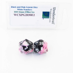WCXPG2030E2 Black Pink Gemini Dice White Numbers D20 16mm Pack of 2
