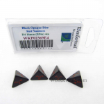 WKP02369E4 Black Opaque Dice Red Numbers D4 16mm (5/8in) Pack of 4