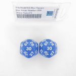 WKP06007E2 Blue Opaque Dice White Numbers D30 30mm Pack of 2