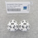 WKP06010E2 White Opaque Dice Black Numbers D30 30mm Pack of 2
