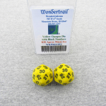 WKP06011E2 Yellow Opaque Dice Black Numbers D30 30mm (1.18in) Pack of 2