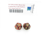 WCXPG1233E2 Black Red Gemini Dice Gold Numbers D12 16mm Pack of 2