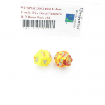 WCXPG1250E2 Red Yellow Gemini Dice Silver Numbers D12 16mm Pack of 2