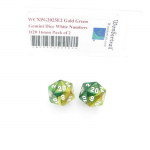 WCXPG2025E2 Gold Green Gemini Dice White Numbers D20 16mm Pack of 2