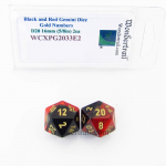 WCXPG2033E2 Black Red Gemini Dice Gold Numbers D20 16mm Pack of 2