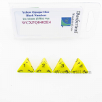 WCXPQ0402E4 Yellow Opaque Dice Black Numbers D4 16mm Pack of 4