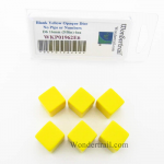 WKP01962E6 Yellow Blank Dice Cubes D6 16mm (5/8in) Set of 6 Wondertrail