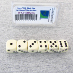 WKP10882E6 Ivory Opaque Dice with Black Pips D6 16mm (5/8in) Pack of 6