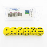 WKP10887E6 Yellow Opaque Dice with Black Pips D6 16mm (5/8in) Pack of 6