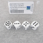 WKP13184E4 Soccer Dice White Opaque with Black Pips D6 18mm (23/32in) Set of 4 Wondertrail