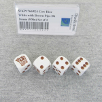 WKP17669E4 Cow Dice White with Brown Pips D6 16mm (5/8in) Set of 4