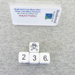 WKP17705E4 Skull and Cross Bones Dice D6 White with Black Numbers 15.8mm (5/8in Aprox.) Set of 4 Koplow Games