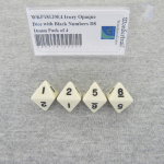 WKP18129E4 Ivory Opaque Dice with Black Numbers D8 16mm Pack of 4