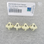 WKP18130E4 Ivory Opaque Dice with Black Numbers D10 16mm Pack of 4