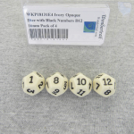 WKP18131E4 Ivory Opaque Dice with Black Numbers D12 16mm Pack of 4