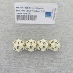 WKP18132E4 Ivory Opaque Dice with Black Numbers D20 16mm Pack of 4