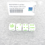 WKP18702E4 Leaf Dice White Opaque with Green Pips D6 16mm Pack of 4