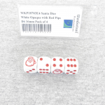 WKP18703E4 Santa Dice White Opaque with Red Pips D6 16mm Pack of 4