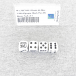 WKP18704E4 Route 66 Dice White Opaque Black Pips D6 16mm Pack of 4