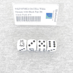 WKP18705E4 Owl Dice White Opaque with Black Pips D6 16mm Pack of 4