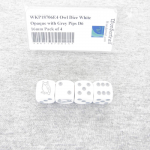 WKP18706E4 Owl Dice White Opaque with Grey Pips D6 16mm Pack of 4