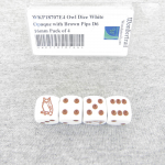 WKP18707E4 Owl Dice White Opaque with Brown Pips D6 16mm Pack of 4
