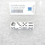 WKP18708E4 Panda Dice White Opaque with Black Pips D6 16mm Pack of 4